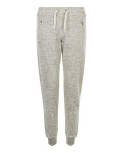 Teens Cream Marl Zip Pocket Joggers | New Look