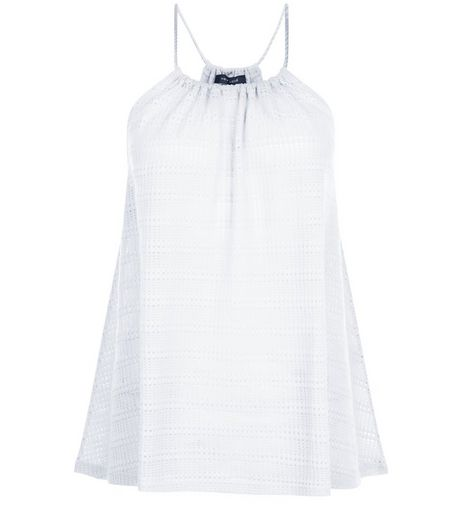 White Fine Knit Stripe Rope Strap Cami  | New Look