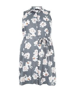 Curves Grey Floral Print Sleeveless Shirt Dress | New Look