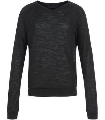 teens-black-fine-knit-v-neck-jumper