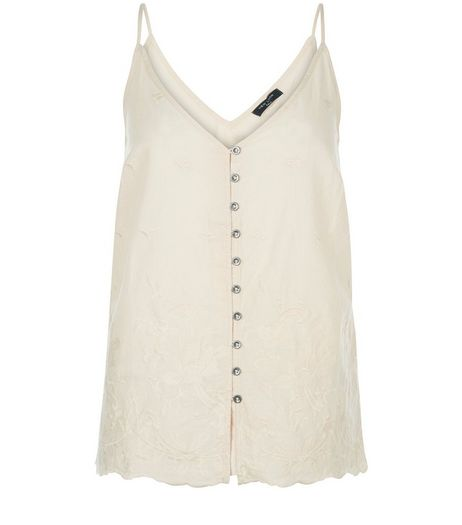 Tall Shell Pink Button Front V Neck Cami  | New Look