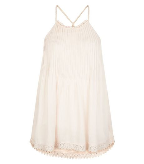 Tall Shell Pink Pleated Crochet Trim Cami  | New Look