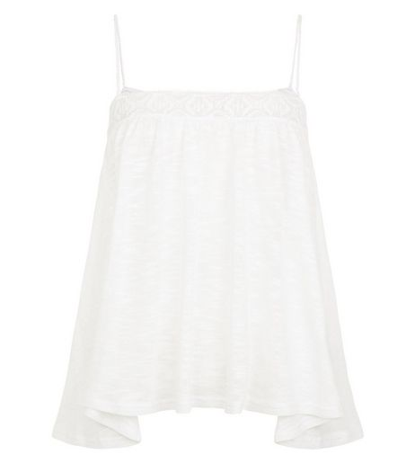 White Fine Knit Hanky Hem Cami  | New Look