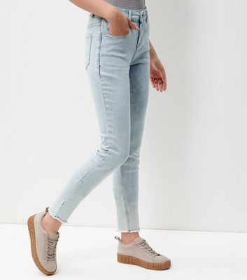 Tall Pale Blue Fray Hem Skinny Jeans
