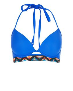 Blue Zig Zag Tape Longline Underwired Bikini Top | New Look