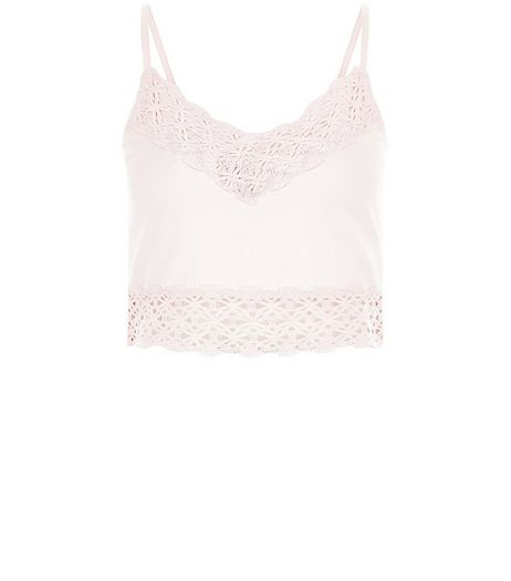 Light Pink Lace Trim Bralet Cami | New Look