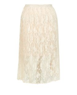 Shell Pink Floral Lace Pleated Midi Skirt  | New Look