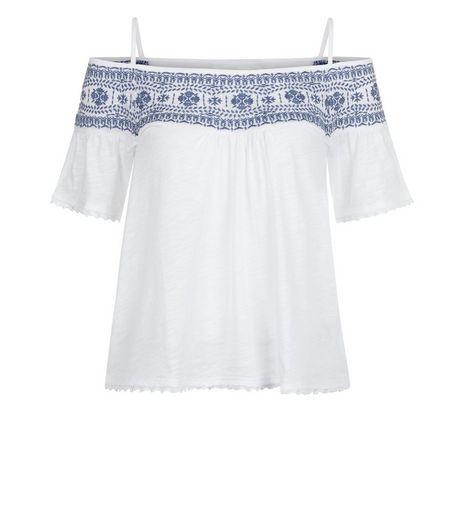 White Embroidered Panel Cold Shoulder Top  | New Look