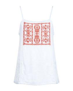 White Embroidered Panel Cami  | New Look
