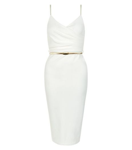 White Wrap Front Belted Strappy Bodycon Dress | New Look