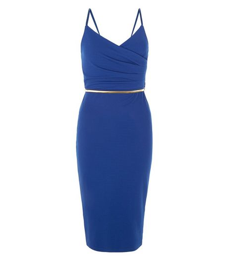 Blue Wrap Front Belted Strappy Bodycon Dress | New Look