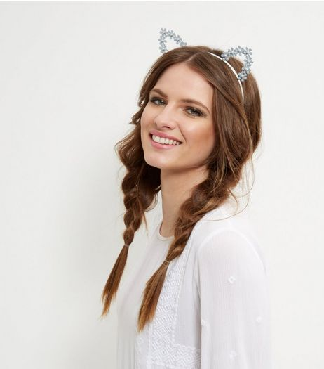 Blue Flower Cat Ears Headband | New Look