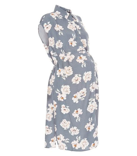 Maternity Grey Floral Print Shirt Dress | New Look