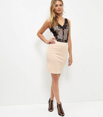 Shell Pink Lace Panel Bodycon Dress