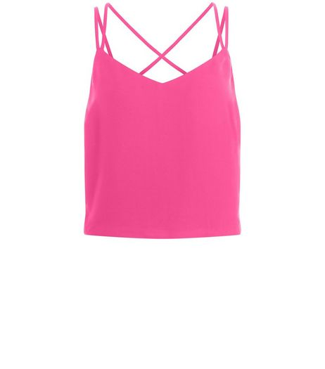 Pink Cross Strap Back Cropped Cami  | New Look