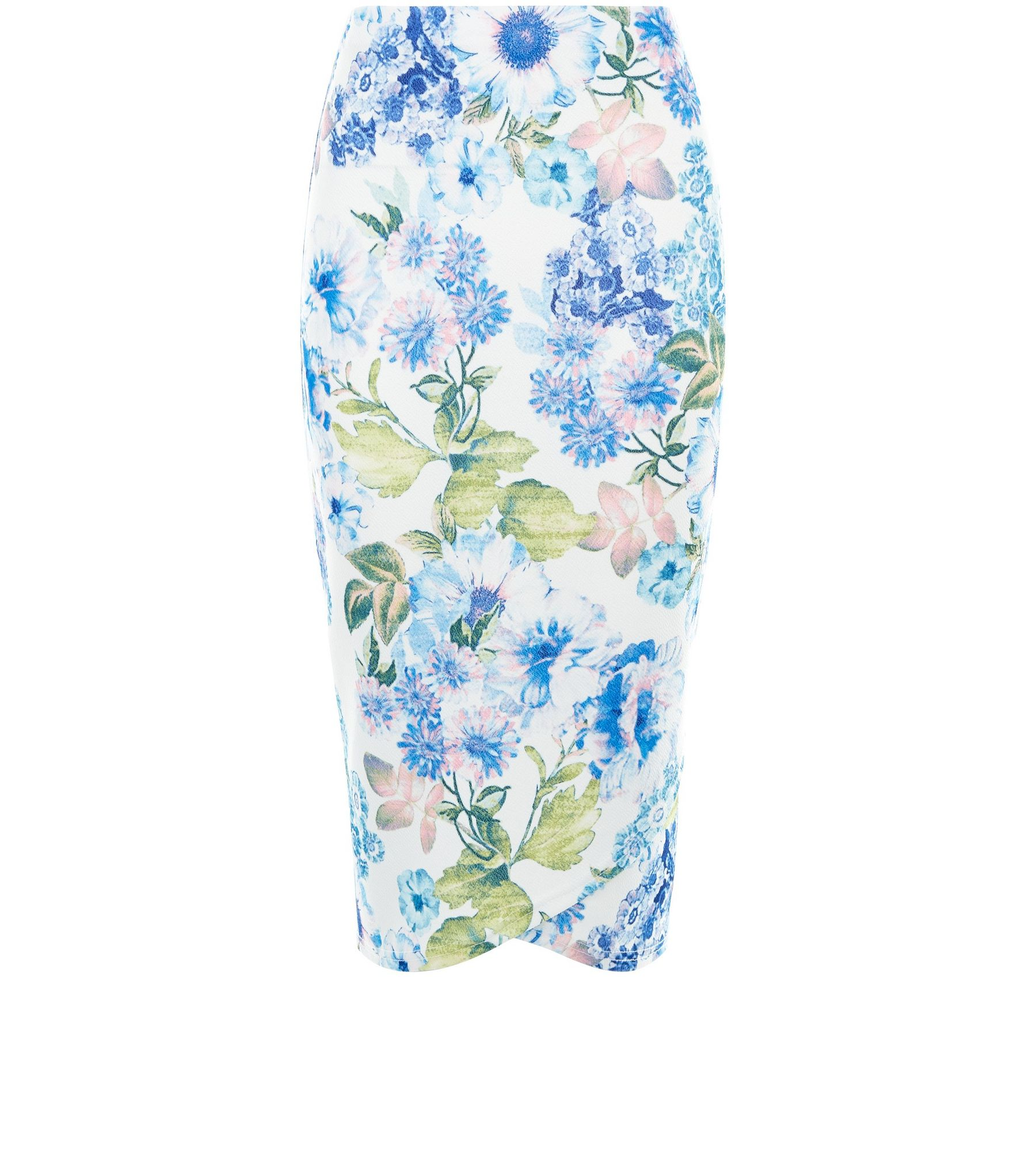 White Floral Print Wrap Front Pencil Skirt  | New Look