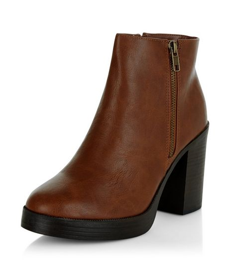 Tan Chunky Block Heel Ankle Boots  | New Look