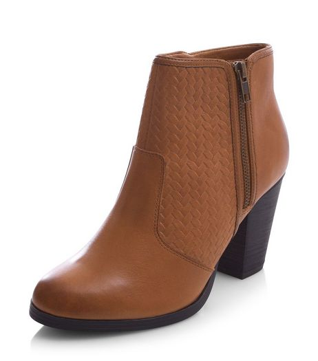Tan Leather Woven Panel Block Heel Ankle Boots  | New Look