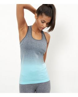 Blue Dip Dye Seamless Sports Vest  | New Look