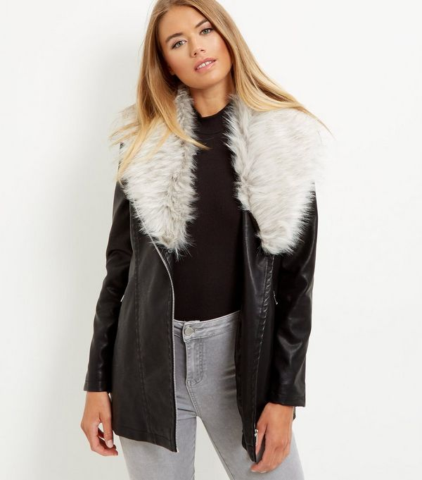 Black Leather-Look Faux Fur Collar Longline Biker Jacket