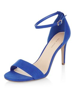 Blue Suedette Ankle Strap Heeled Sandals | New Look