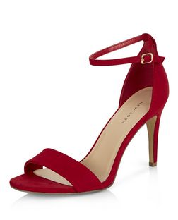Red Suedette Ankle Strap Heeled Sandals  | New Look
