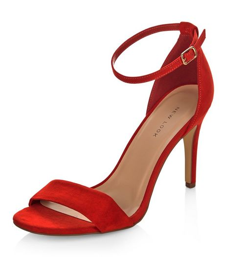 Bright Red Suedette Ankle Strap Heeled Sandals | New Look