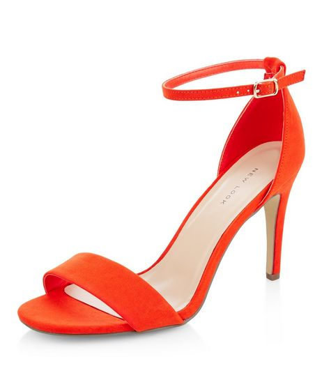 Bright Orange Suedette Ankle Strap Heeled Sandals | New Look