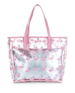 Pink Flamingo Print Clear Beach Bag | New Look
