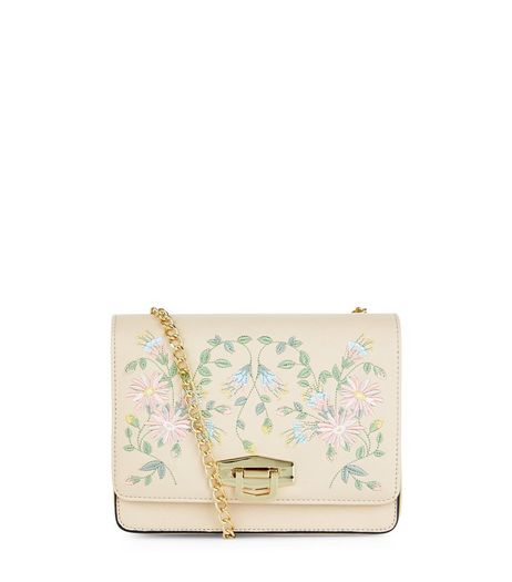 Cream Embroidered Box Shoulder Bag | New Look