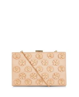 Stone Straw 3D Flower Frame Clutch  | New Look
