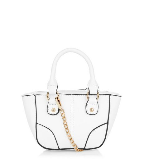 White Contrast Trim Mini Tote Bag | New Look