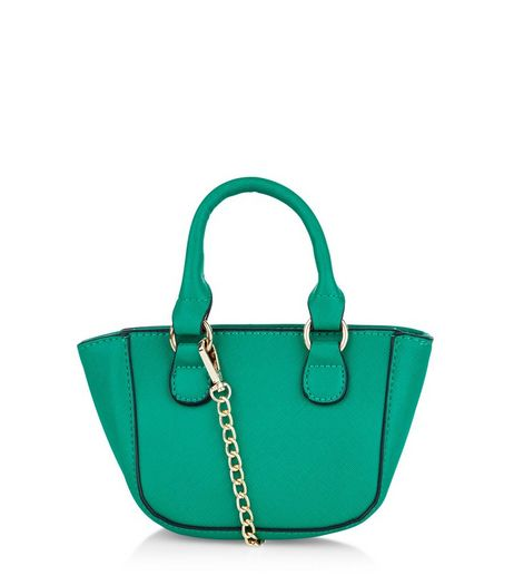 Green Contrast Trim Mini Tote Bag | New Look