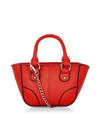 Red Contrast Trim Mini Tote Bag