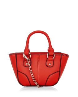 Red Contrast Trim Mini Tote Bag | New Look