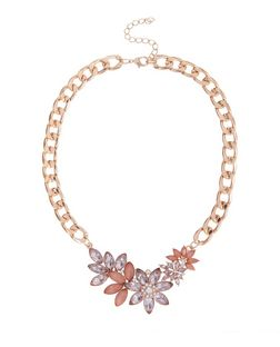 Pink Flower Chain Necklace | New Look