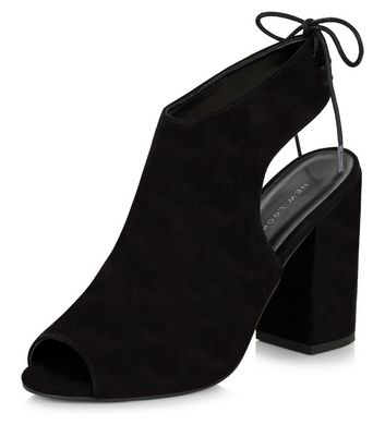 Sandalo  donna Black Peep Toe Tie Sling Back Block Heels
