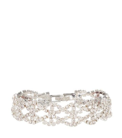 Crystal Diamante Cross Bracelet | New Look