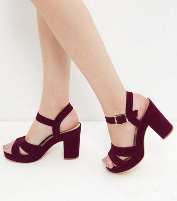 Sandalo  donna Dark Red Suedette Ankle Strap Heels