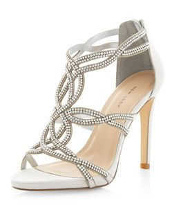 Silver Diamante Twist Strap Heels  | New Look