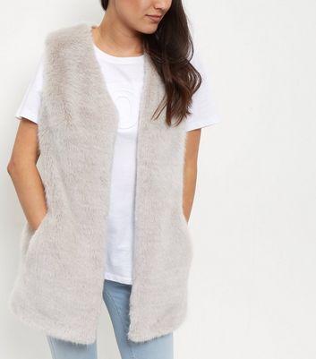 Grey Faux Fur Longline Gilet