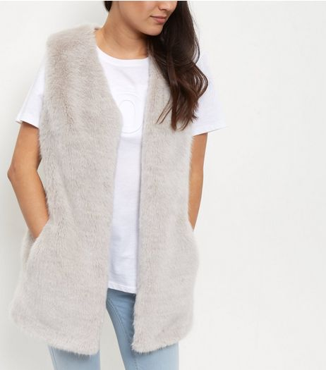 Grey Faux Fur Longline Gilet  | New Look