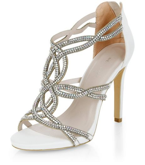 Cream Bridal Diamante Twist Strap Heels  | New Look