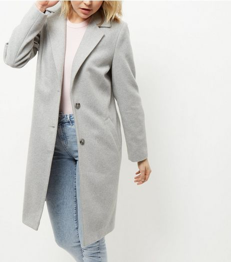 Grey Longline Coat  | New Look