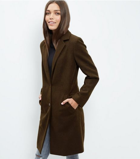 Khaki Longline Coat  | New Look