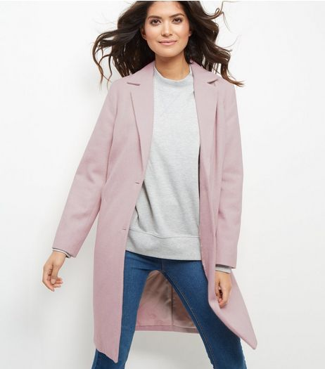 Shell Pink Longline Coat  | New Look