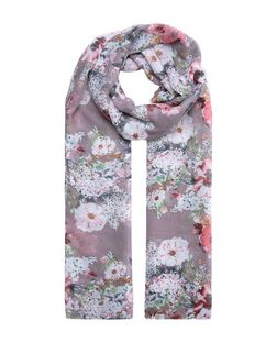 Pale Grey Floral Print Longline Scarf | New Look