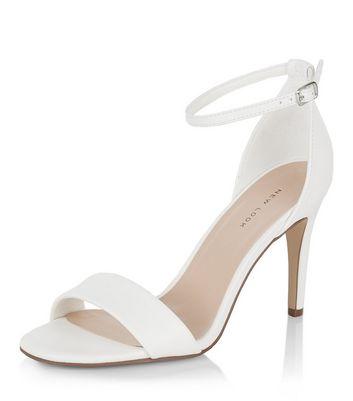 Sandalo  donna White Square Toe Heeled Sandals
