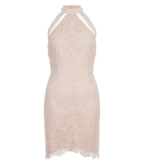 Girl in Mind Pink Lace High Neck Dress | New Look