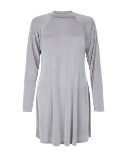 Blue Vanilla Grey High Neck Swing Dress | New Look